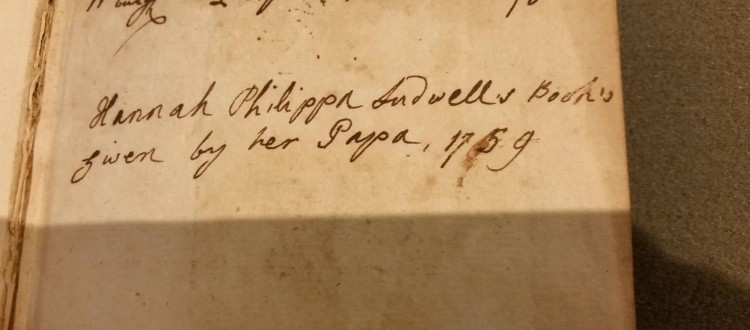 book gift from Philip Ludwell III to daughter Hannah 1759