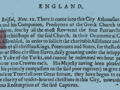 Dublin Evening Post 1732 Orthodox visit to England
