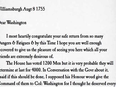 Philip Ludwell letter to George Washington commission Virginia militia 1755
