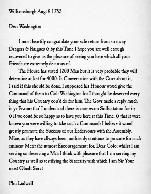 Philip Ludwell III letter to George Washington colonel Virginia militia 1755