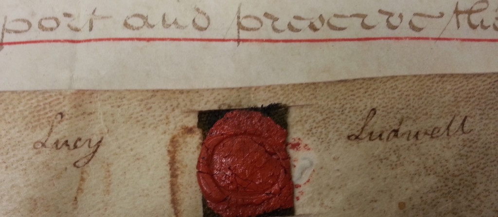 Letter and wax seal of Lucy Ludwell