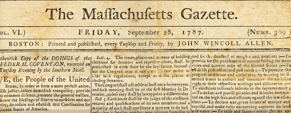 Massachusetts Gazette, September 28, 1787 Courtesy Amherst College Archives and Special Collections