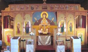 Iconostasis at St Aidan Orthodox Church, Manchester, England.