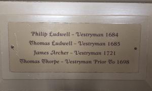 Ludwell, Bruton Parish Church, pew, Philip Ludwell, Thomas Ludwell