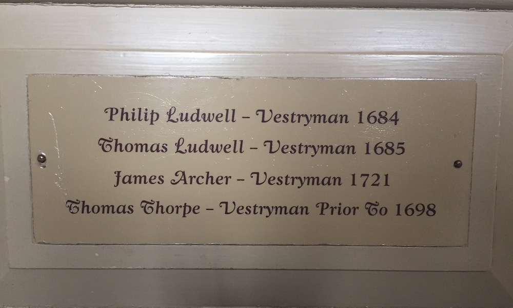 Ludwell, Bruton Parish Church, pew, Philip Ludwell, orthodox