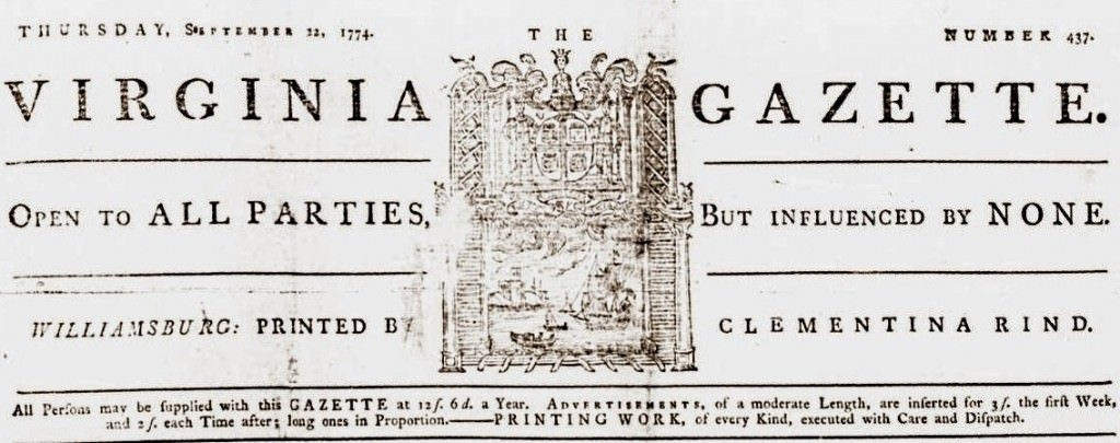 Virginia Gazette, Sept 22 1774 published by Clementina Rind