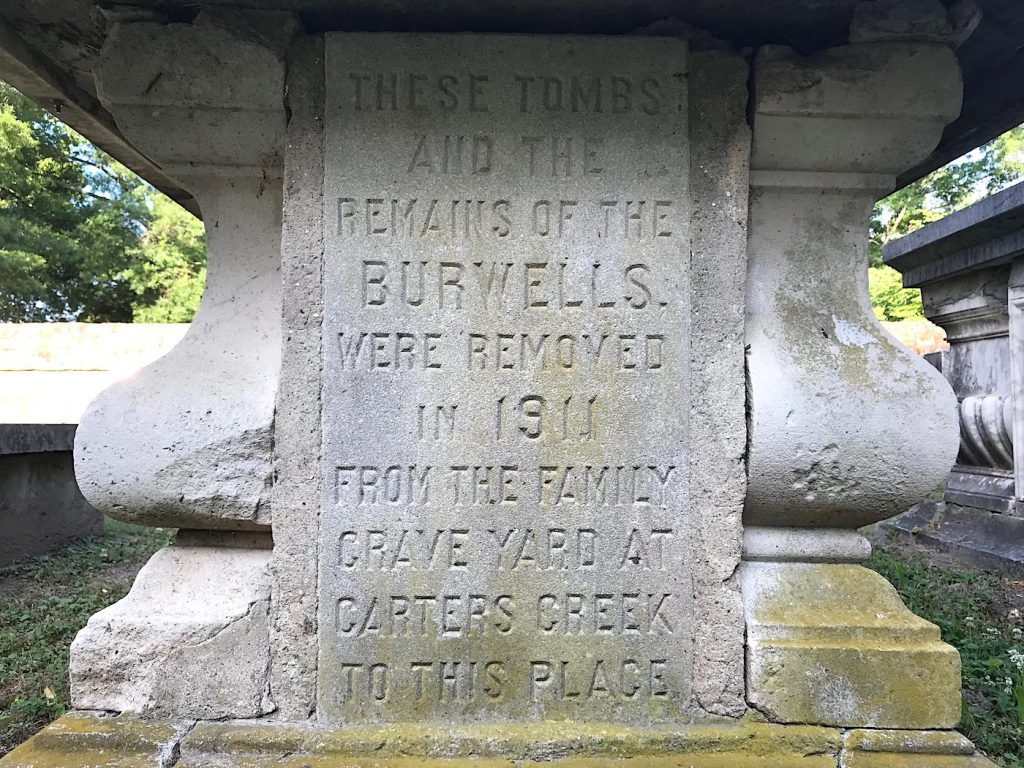 inscription on Burwell graves - Abingdon Episcopal Church, Gloucester Virginia
