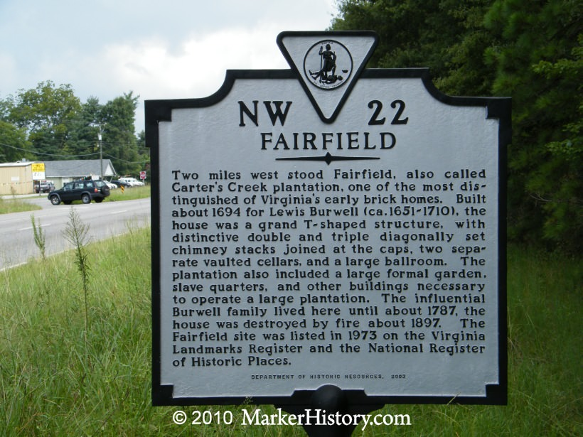 Historical Marker - Fairfield Plantation, Gloucester, Virginia