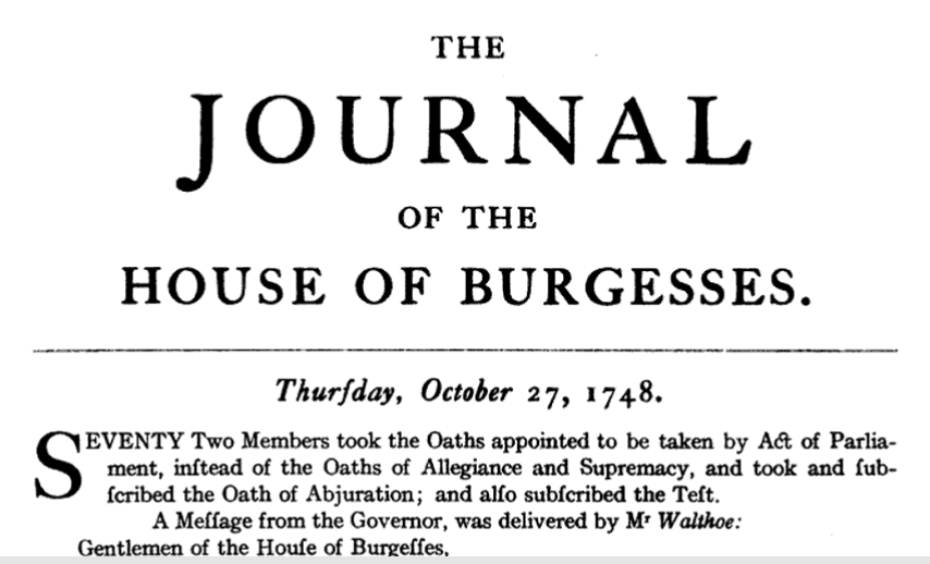 journal of house of burgesses october 27 1748 benjamin waller nominates philip ludwell as speaker