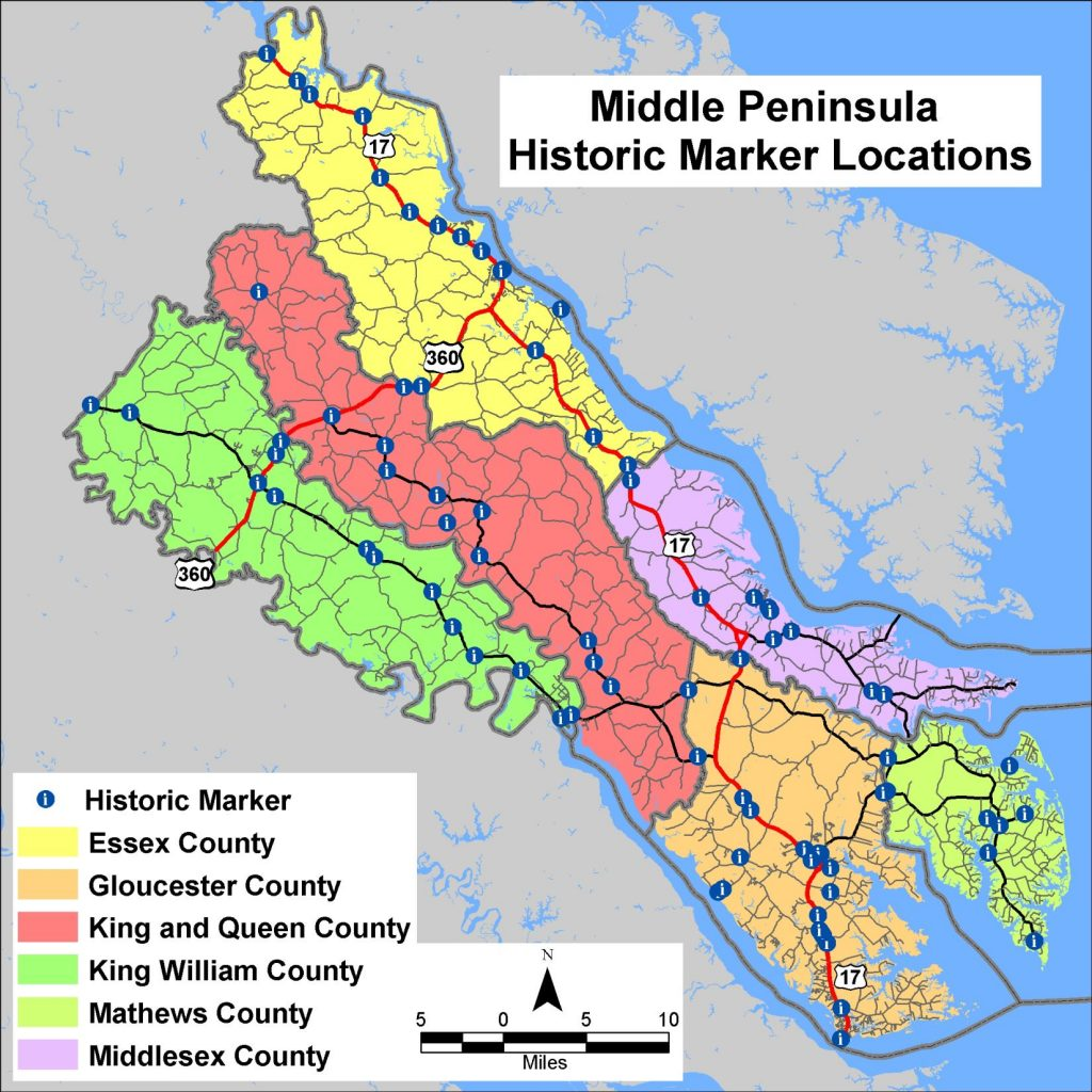 Map of Middle Peninsula Historic Marker Locations