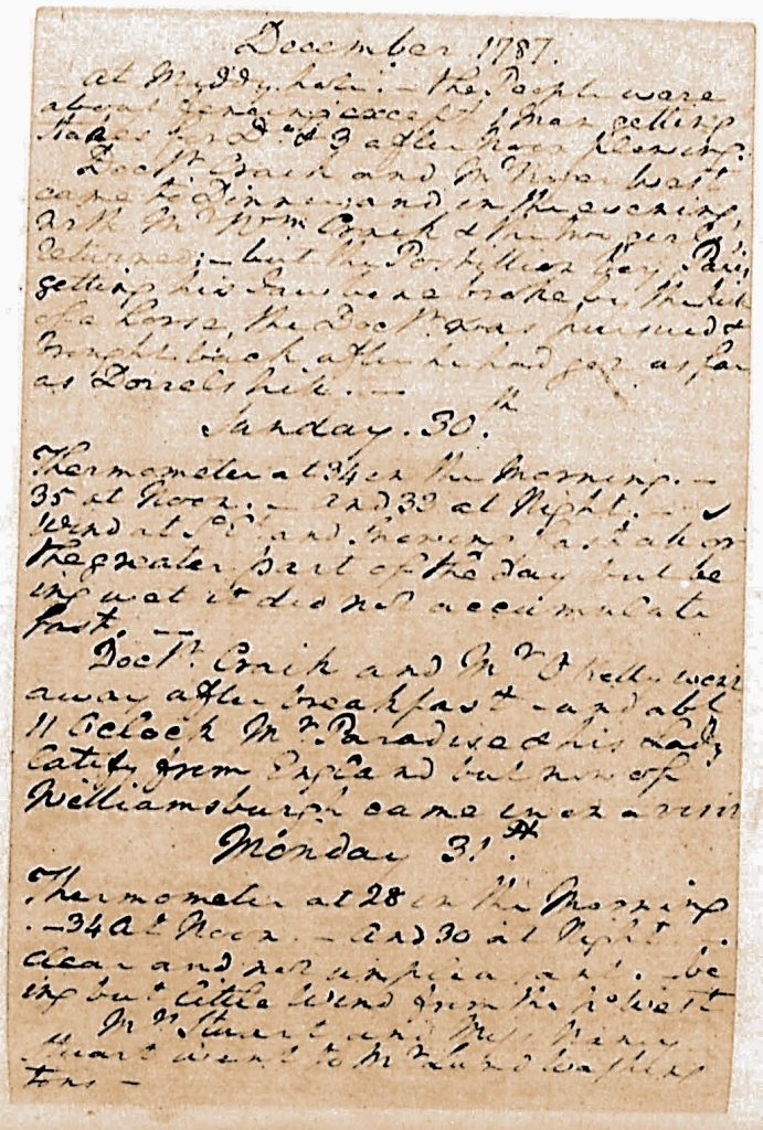 George Washington Diary Dec 30 1787 visit of John and Lucy Paradise