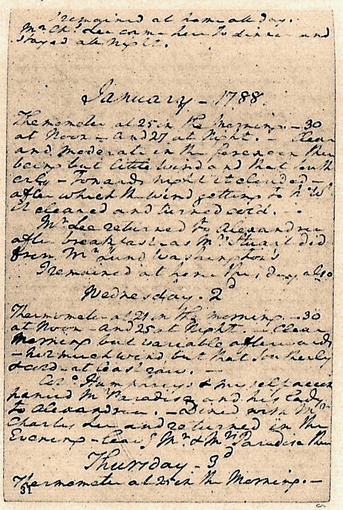 George Washington Diary January 2 1788 visit of John and Lucy Paradise