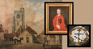 graphic header of painting of bow church stratford london and philip ludwell III portrait